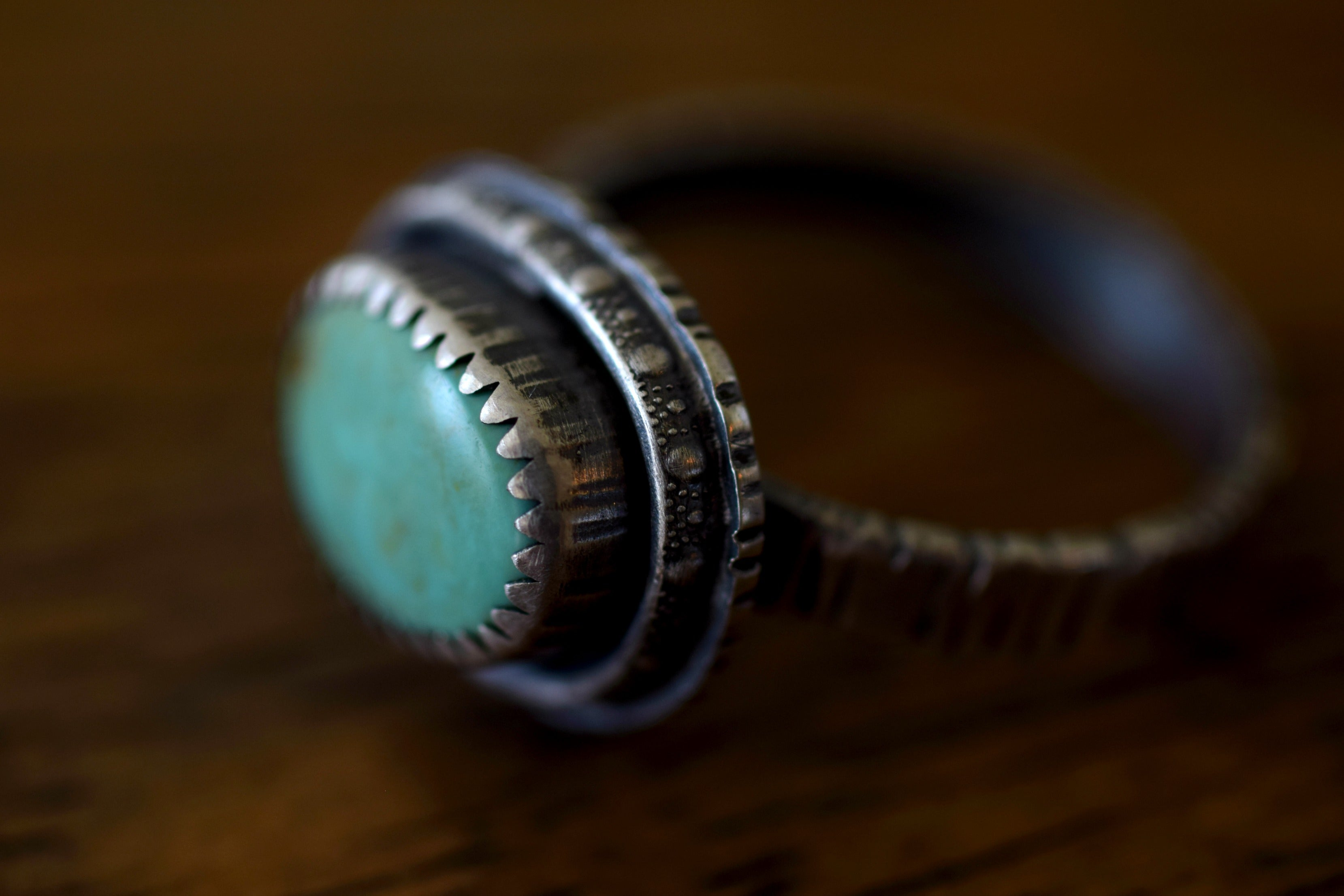 XKingman Turquoise Ring - Turquoise Ring - Sterling Silver - Tree Bark - Woodland Ring - Something Blue - Woodland Wedding