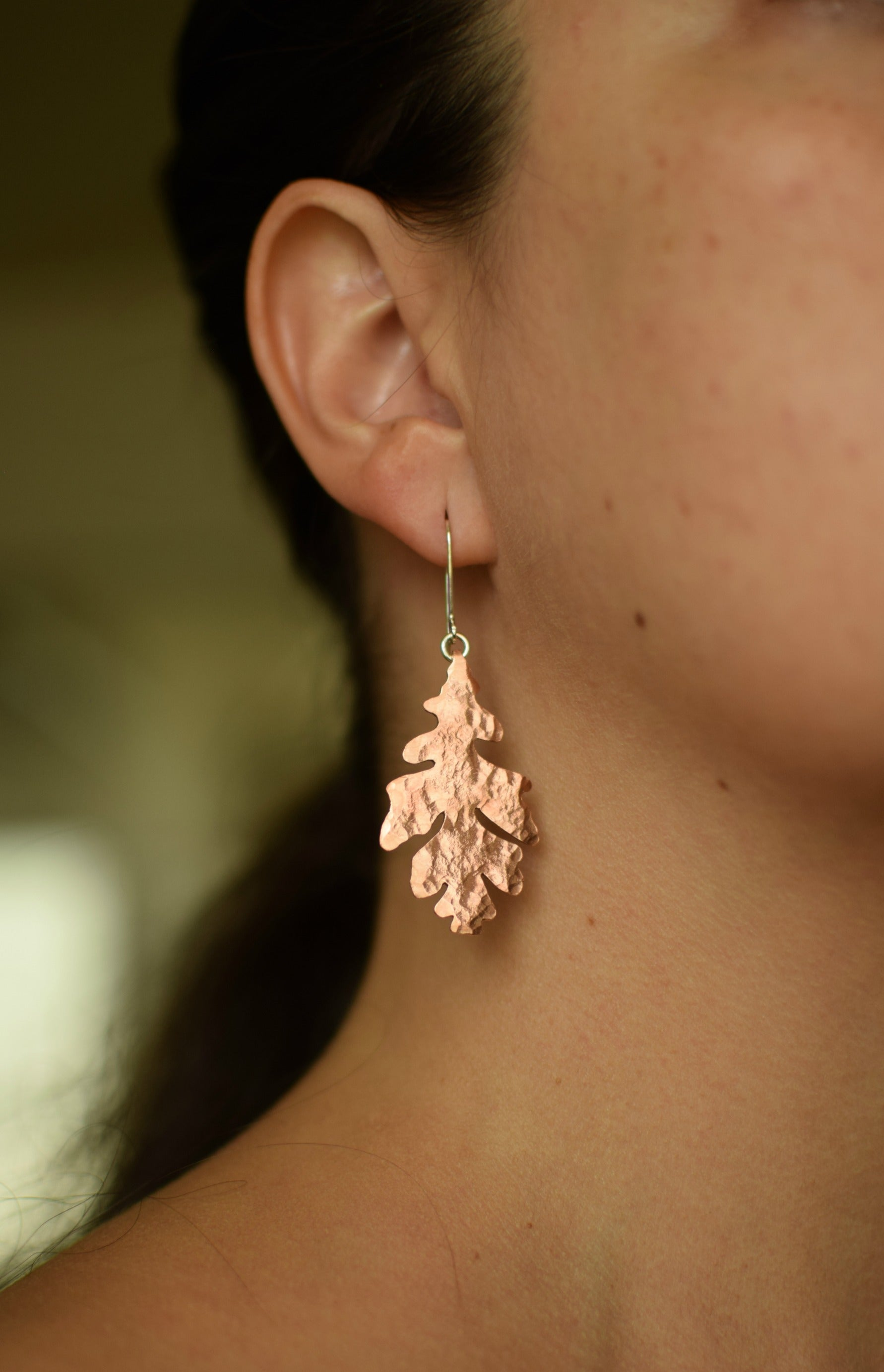 XWhite Oak Dangle Earrings - Copper Leaf Earrings - Autumn Fashion