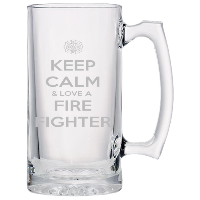 Keep Calm And Love A Firefighter - Firefighter Beer Mug