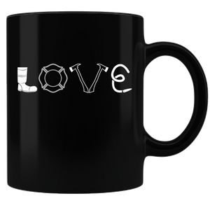 Firefighter Love - Coffee Mug - Black