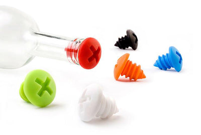 Bottle Screws  Bottle Stoppers-Charcoal & White