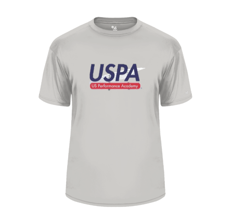 USPA MEN'S GREY BADGER TEE