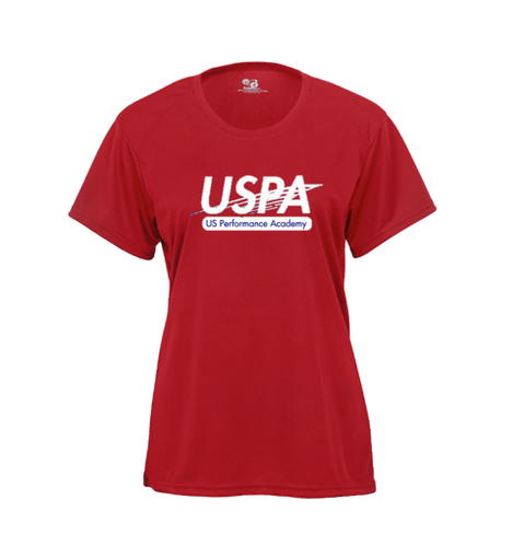 USPA WOMEN'S RED BADGER TEE