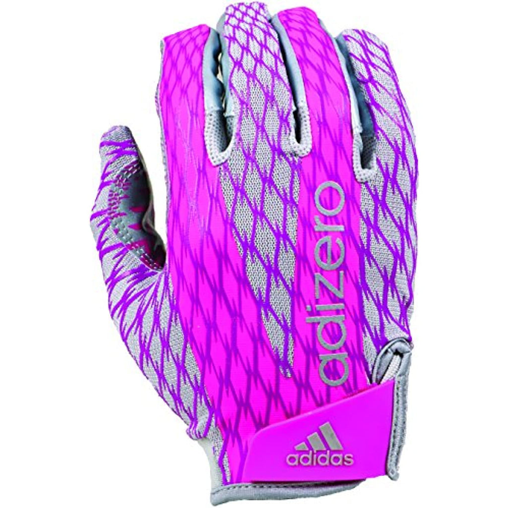adidas Adizero 4.0 Adult Football Receiver's Gloves, Platinum/Pink, Small
