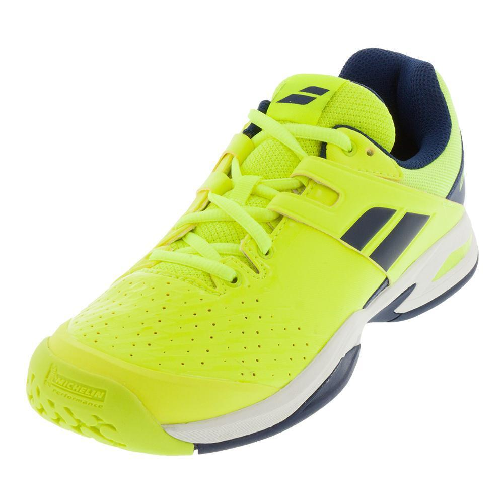 Junior's Propulse Fury All Court Fluo Yellow and Estate Blue Tennis Shoes