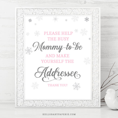 Pink Snowflake Address an Envelope Sign