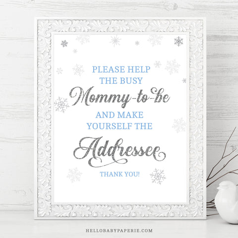 Baby Boy Snowflake Addressee Sign