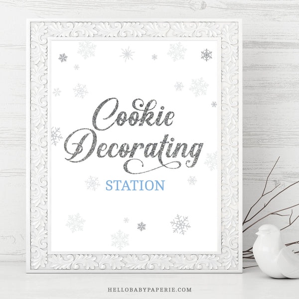 Baby Boy Snowflake Cookie Decorating Sign