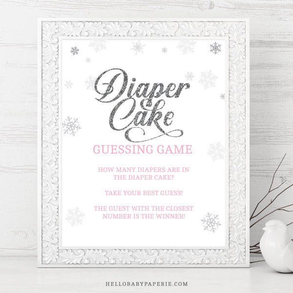 Pink Snowflake Diaper Cake Guessing Game Sign