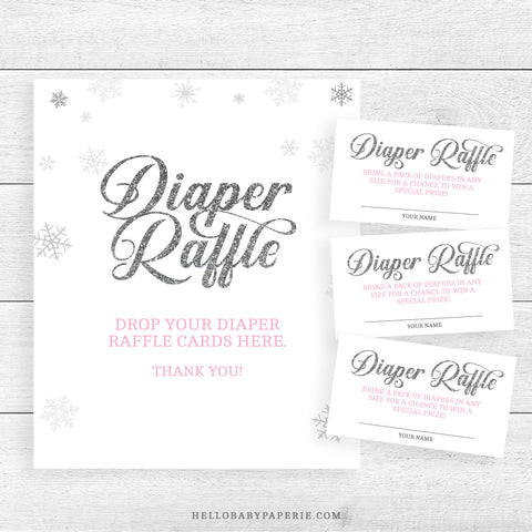 Pink Snowflake Diaper Raffle Sign & Tickets
