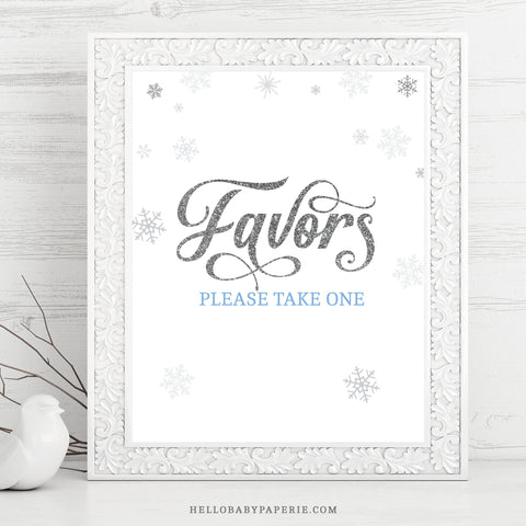 Baby Boy Snowflake Favors Table Sign