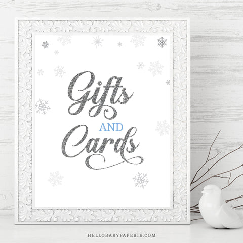 Baby Boy Snowflake Gift and Cards Sign