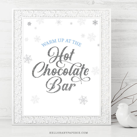 Baby Boy Snowflake Hot Chocolate Bar Sign