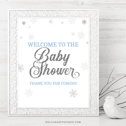 Baby Boy Snowflake Welcome Sign