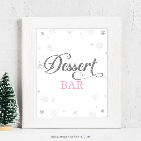 Pink Snowflake Dessert Bar Sign