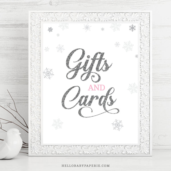 Pink Snowflake Gift and Cards Sign