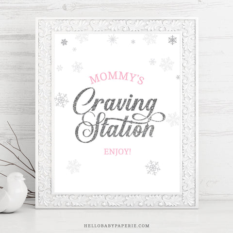 Pink Snowflake Craving Station Sign