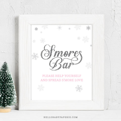 Pink Snowflake S'more's Bar Sign