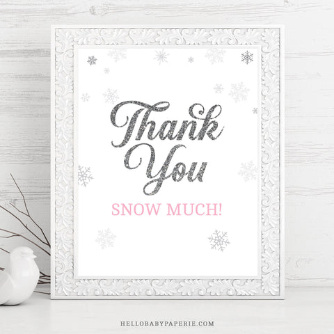 Pink Snowflake Thank You Sign