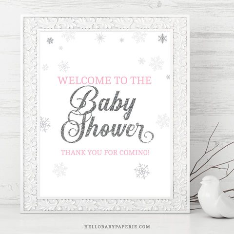 Pink Snowflake Welcome Sign