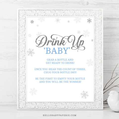 Baby Boy Snowflake Drink Up Baby Sign - Hello Baby Paperie