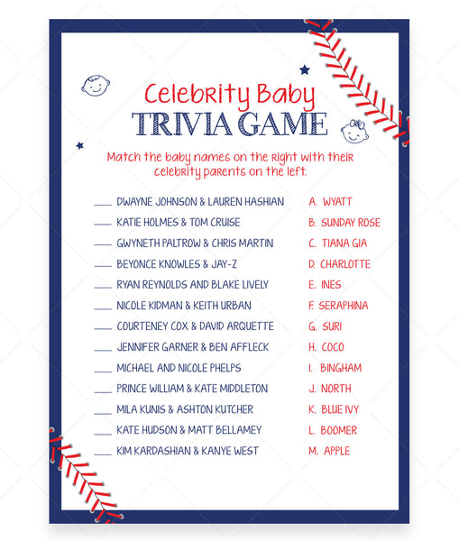 Baseball Celebrity Babies Game Template