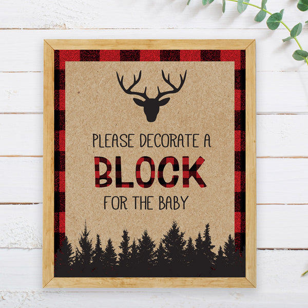 Lumberjack Decorate a Block Sign - Hello Baby Paperie