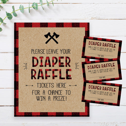Lumberjack Diaper Raffle Sign & Tickets