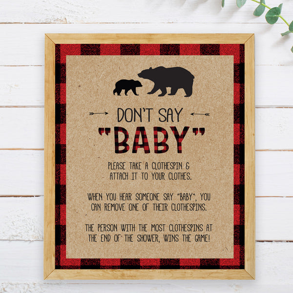 Lumberjack Don't Say Baby Game Sign - Hello Baby Paperie