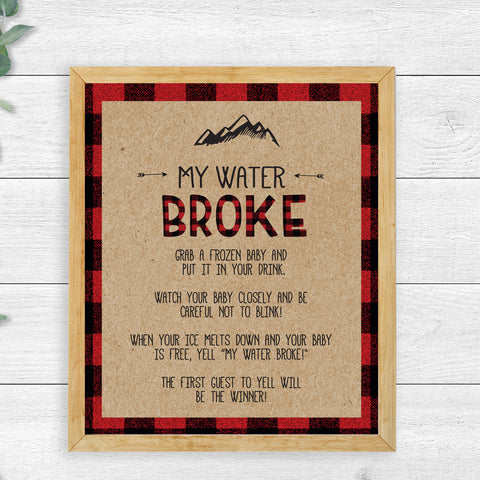 Lumberjack My Water Broke Game Sign