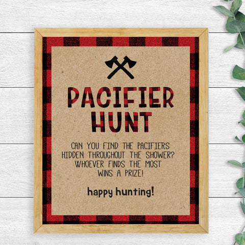 Lumberjack Pacifier Hunt Game Sign