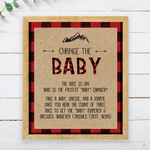 Lumberjack Change the Baby Game Sign