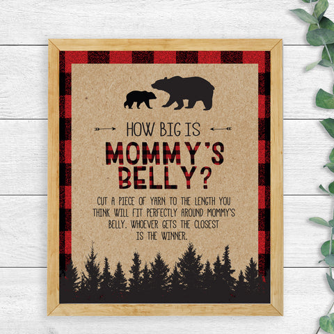 Lumberjack How Big is Mommy's Belly Game Sign