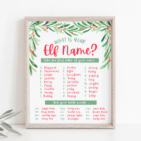 Christmas What's Your Elf Name Sign
