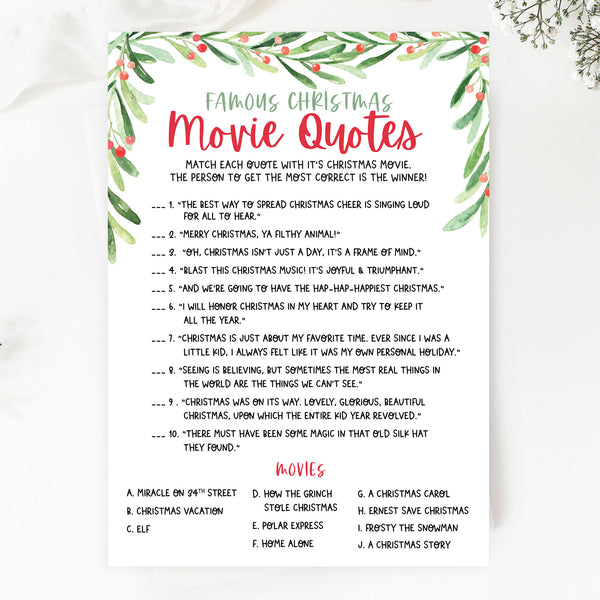 Christmas Movie Quote Game