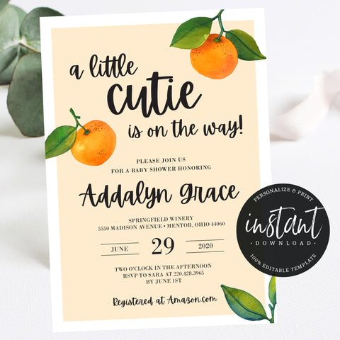 Little Cutie Baby Shower Invitation - Hello Baby Paperie