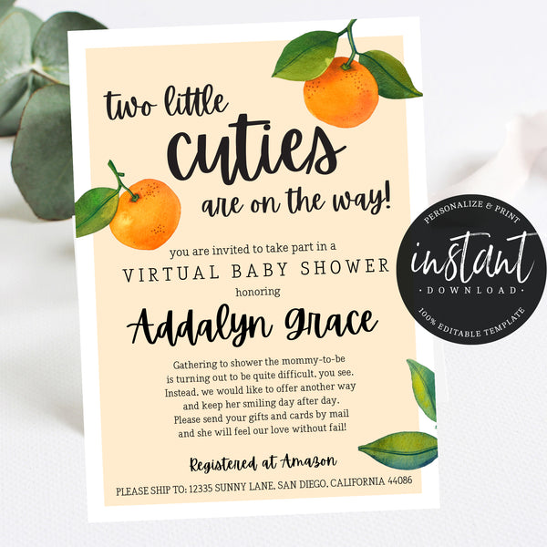 Virtual Shower Little Cuties Invitation for Twins