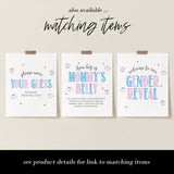 Pink and Blue Drink Up Bottle Chugging Game Sign - Hello Baby Paperie