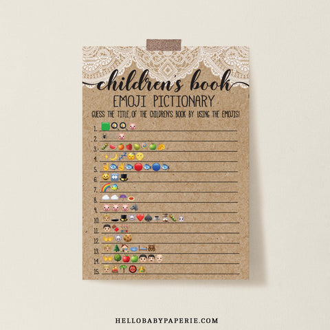 Rustic Lace Children's Book Emoji Template - Hello Baby Paperie