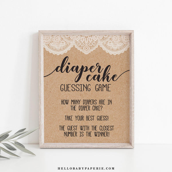 Rustic Lace Kraft Diaper Cake Guessing Game Sign Template - Hello Baby Paperie