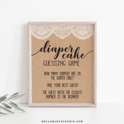 Rustic Lace Kraft Diaper Cake Guessing Game Sign Template