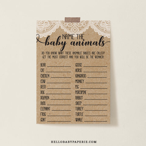 Rustic Lace Name the Baby Animals Game Template - Hello Baby Paperie