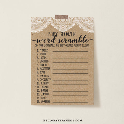 Rustic Lace Baby Word Scramble Game Template