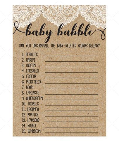 Rustic Lace Baby Babble Game Template - Hello Baby Paperie
