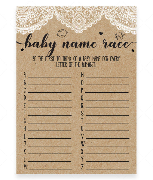 Rustic Lace Baby Name Race Game Template