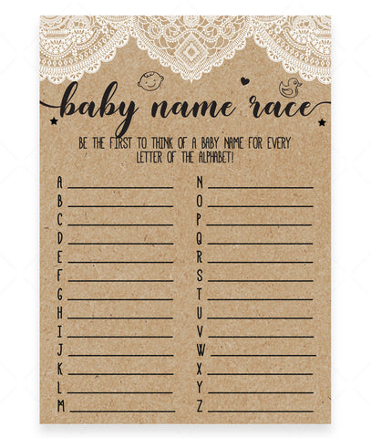 Rustic Lace Baby Name Race Game Template - Hello Baby Paperie