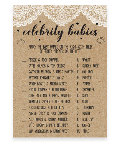 Rustic Lace Celebrity Babies Game Template