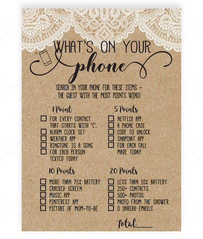 Rustic Lace What's on Your Phone Game Template