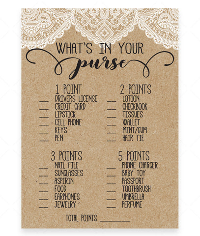 Rustic Lace What's in Your Purse Game Template