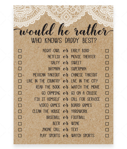 Rustic Lace Would He Rather Game Template - Hello Baby Paperie